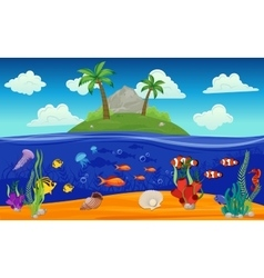 Underwater World Island Composition vector image