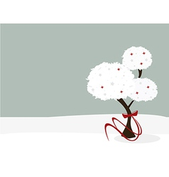 Winter tree with bow vector image vector image