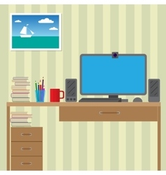 Workstation for use with the computer Large vector image