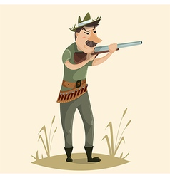 Hunter with gun funny cartoon character vector