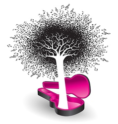 A tree of notes grows from a guitar case vector image