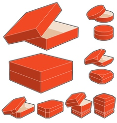 3d box with opened and closed lids vector image