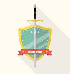 Sword and shield flat style badge icon vector