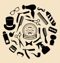 set of barbershop icons in flat style vector image