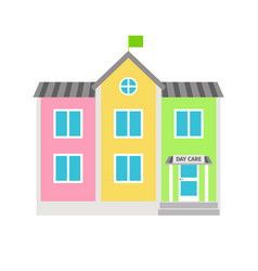 daycare colorful building flat icon vector image