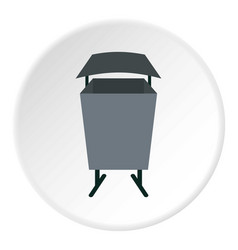 Metal rubbish bin icon circle vector