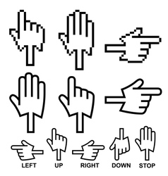 Direction hand cursor icons vector