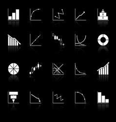 Diagram and graph icons with reflect on black vector image
