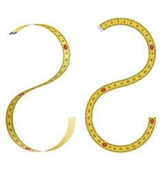 Set of curved measuring tapes on white background vector image