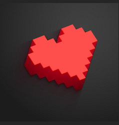 Pixel heart button for valentines day designs vector