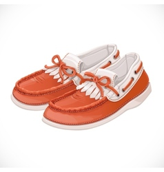 A pair of women brown with white moccasins vector