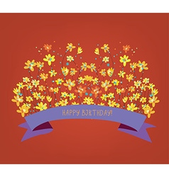 Happy birthday floral card - bright design vector