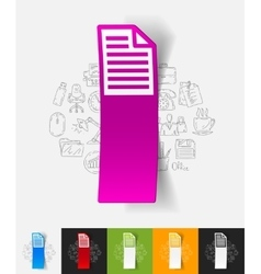 Blank paper sticker with hand drawn elements vector