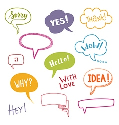 Color speech bubbles set with short messages vector