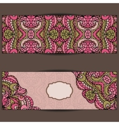 Abstract ethnic pattern cards setCute vector image vector image