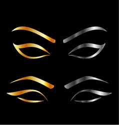 Artistic Eyes with golden and silver eyebrows vector image