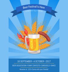 Beer festival is here on blue vector