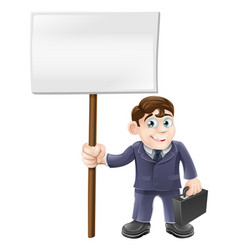 cartoon business man and sign vector image vector image