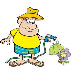 Cartoon man watering a flower with a garden hose vector