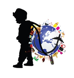 Child holding planet earth and travel icon vector