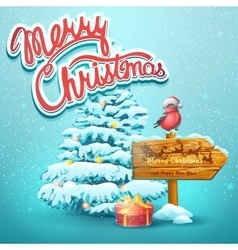 Christmas with fir pointer vector image vector image