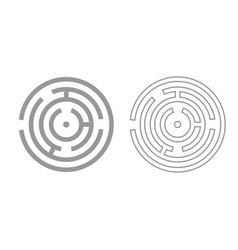 Circle maze or labyrinth grey set icon vector