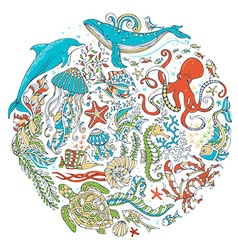 Circle set of sealife animals and plants over vector
