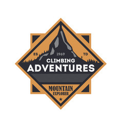 Climbing adventures vintage isolated badge vector