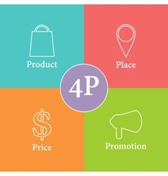 Colorful 4P marketing scheme vector image