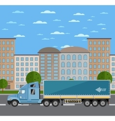 Commercial freight truck on road in city vector