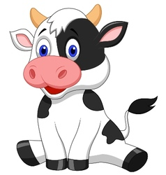 Cute cow cartoon sitting vector image
