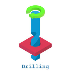 Drilling metalwork icon isometric 3d style vector