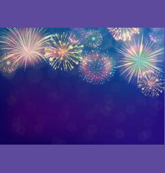 Fireworks background on twilight blue backdrop vector