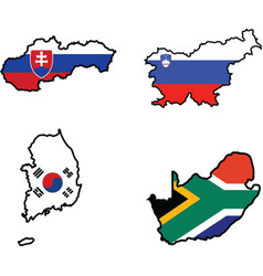 flag in map of SlovakiaSloveniaSouth AfricaSouth K vector image vector image