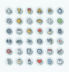 Flat color thin line icons set with sport vector