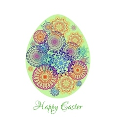 Floral mandala pattern in the shape of an egg vector image