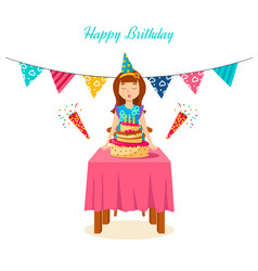 girl blows out the candles a cake on his birthday vector image vector image