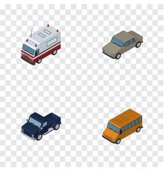 Isometric car set of suv auto first-aid and vector