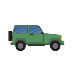 jeep green sport off-road car side view icon vector image