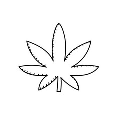 Line marijuana plant with leaves and medical herb vector