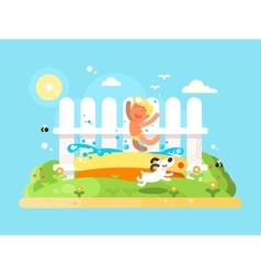 Little boy in garden pool having fun vector