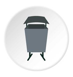 Metal rubbish bin icon circle vector