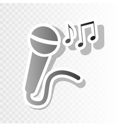 microphone sign with music notes new year vector image vector image
