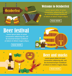 octoberfest banner horizontal set flat style vector image vector image