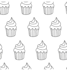 Pattern Cupcake in cartoon vector image