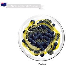 Pavlova meringue cake with berries new zealand vector