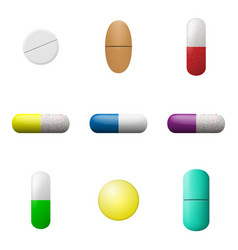 Pills and capsules set pharmacy drugs icons vector