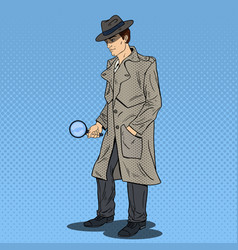 Pop art detective searching with magnifying glass vector