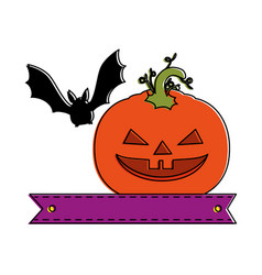 Pumpkin hallooween with vampire decorative icon vector