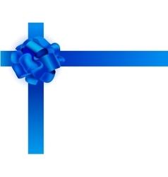 realistic Blue ribbon bow vector image vector image